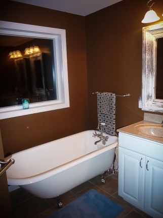 Master bathroom with picture window